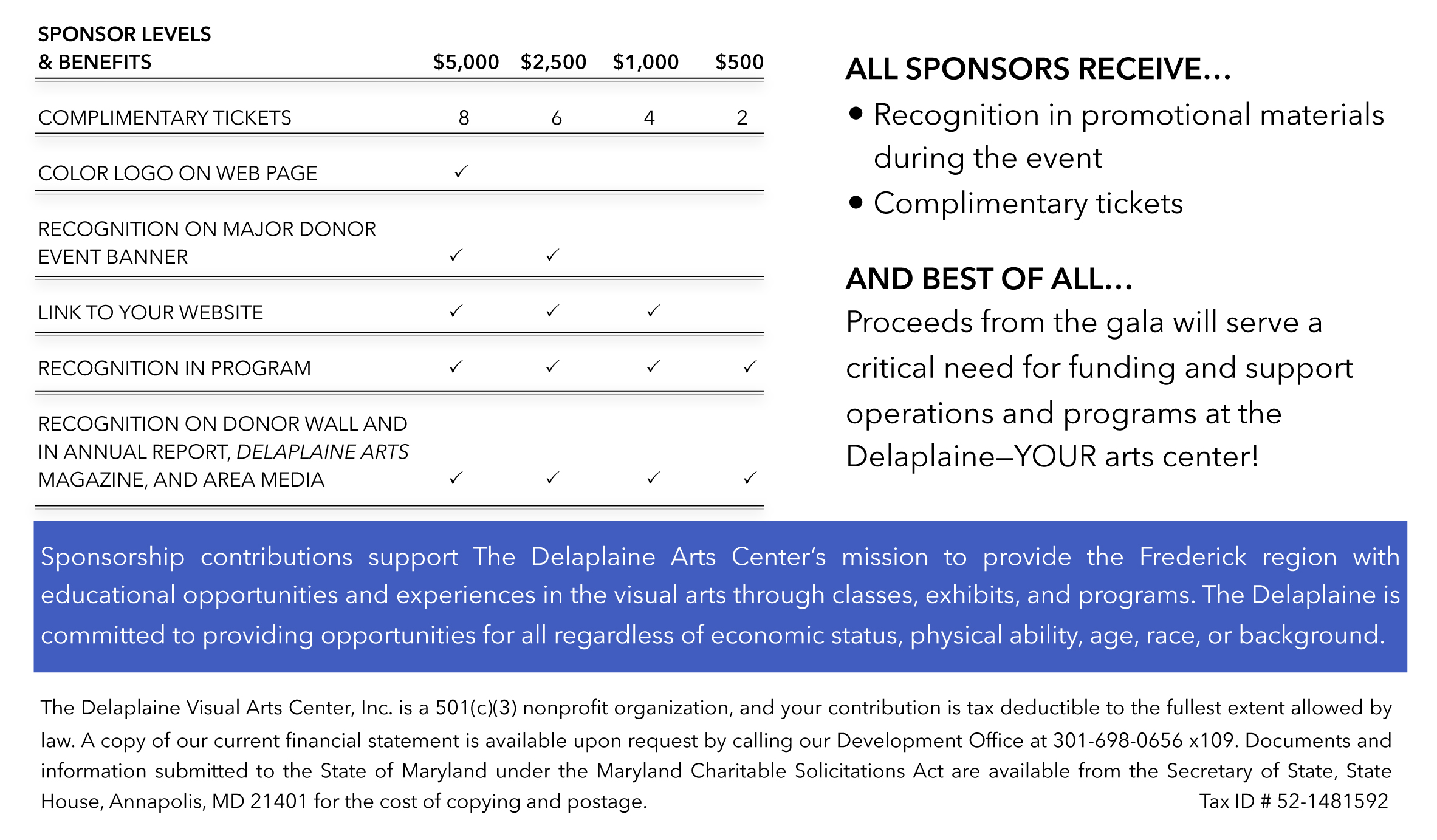 Sponsor Form - Blue box